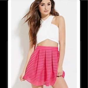 Forever 21 pleated hot pink mesh mini laser stripe